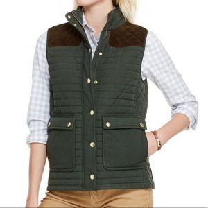 Vineyard Vines green quilted hunting vest leather